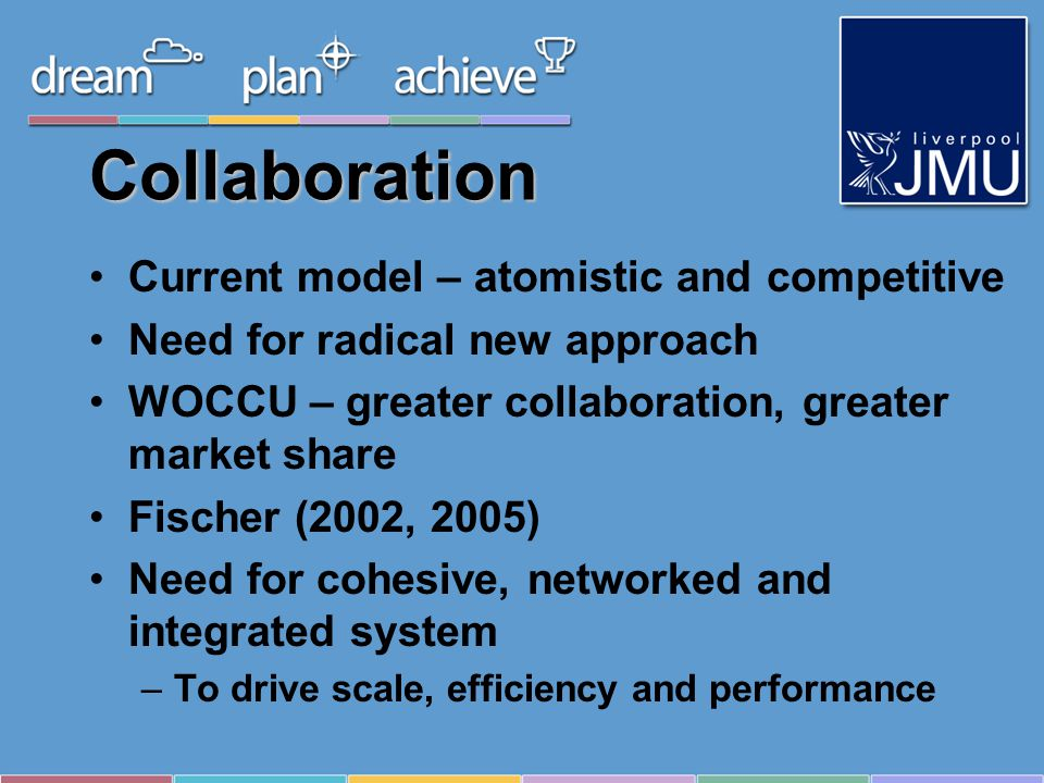 Collaboration Current model – atomistic and competitive Need for radical new approach WOCCU – greater collaboration, greater market share Fischer (2002, 2005) Need for cohesive, networked and integrated system –To drive scale, efficiency and performance