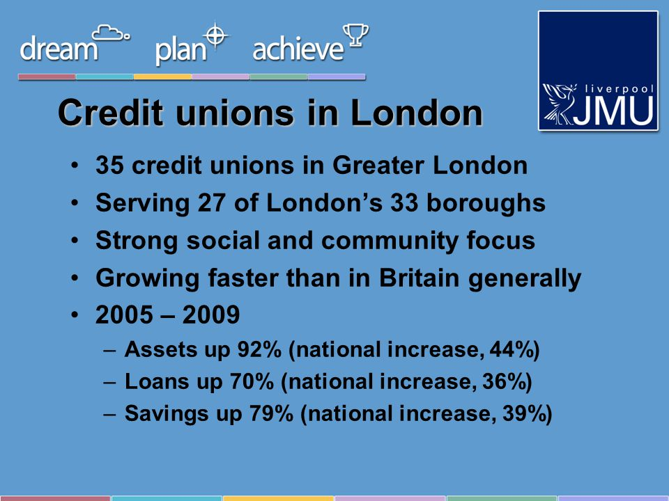 Credit unions in London 35 credit unions in Greater London Serving 27 of Londons 33 boroughs Strong social and community focus Growing faster than in Britain generally 2005 – 2009 –Assets up 92% (national increase, 44%) –Loans up 70% (national increase, 36%) –Savings up 79% (national increase, 39%)