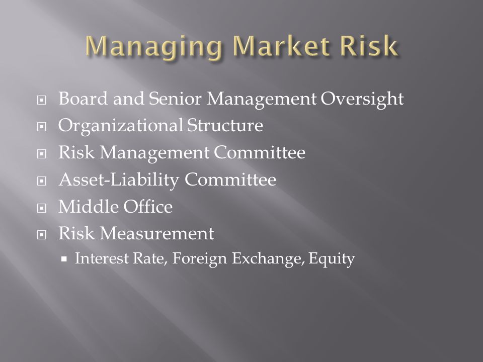 Board and Senior Management Oversight Organizational Structure Risk Management Committee Asset-Liability Committee Middle Office Risk Measurement Interest Rate, Foreign Exchange, Equity