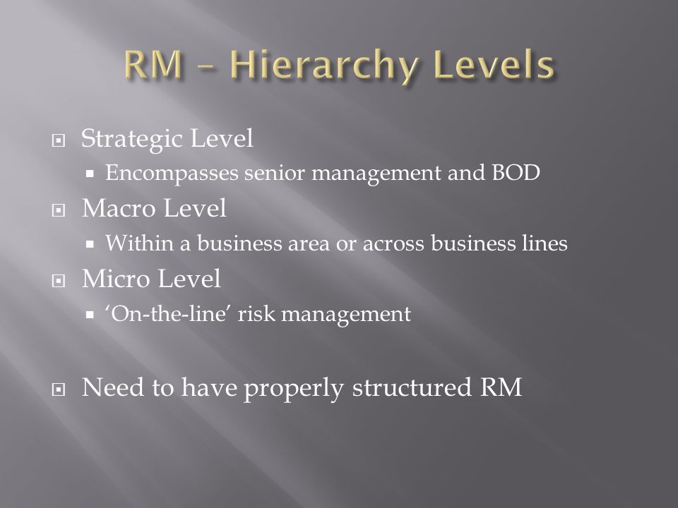 Strategic Level Encompasses senior management and BOD Macro Level Within a business area or across business lines Micro Level On-the-line risk management Need to have properly structured RM