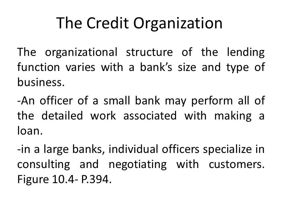 The Credit Organization The organizational structure of the lending function varies with a banks size and type of business.