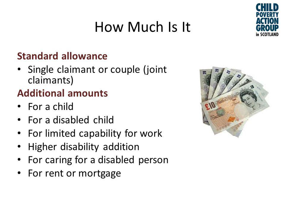 How Much Is It Standard allowance Single claimant or couple (joint claimants) Additional amounts For a child For a disabled child For limited capability for work Higher disability addition For caring for a disabled person For rent or mortgage