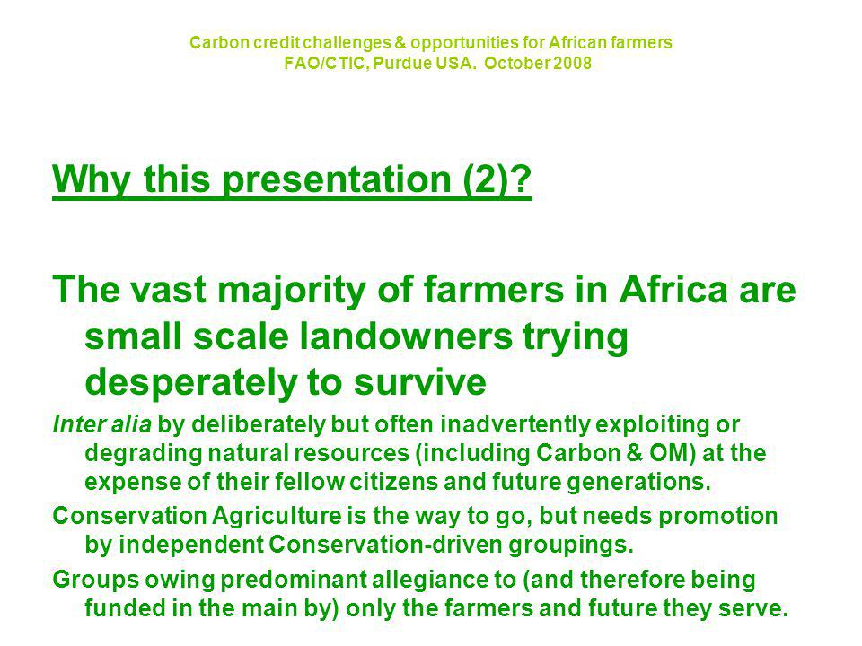 Carbon credit challenges & opportunities for African farmers FAO/CTIC, Purdue USA.