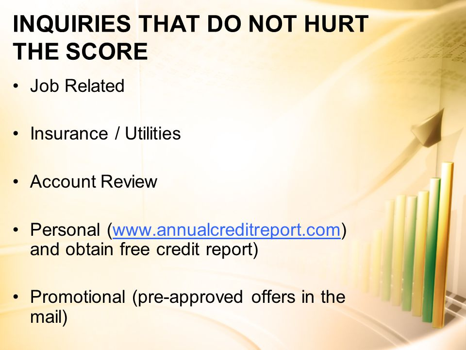 INQUIRIES THAT DO NOT HURT THE SCORE Job Related Insurance / Utilities Account Review Personal (www.annualcreditreport.com) and obtain free credit report)www.annualcreditreport.com Promotional (pre-approved offers in the mail)