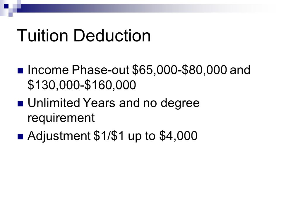 Tuition Deduction Income Phase-out $65,000-$80,000 and $130,000-$160,000 Unlimited Years and no degree requirement Adjustment $1/$1 up to $4,000