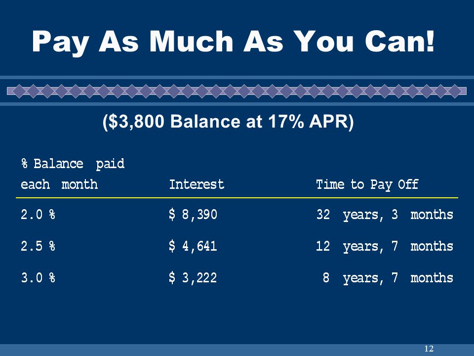 12 Pay As Much As You Can! ($3,800 Balance at 17% APR)