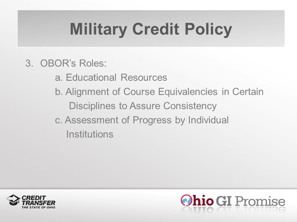 Military Credit Policy 3.OBORs Roles: a. Educational Resources b.