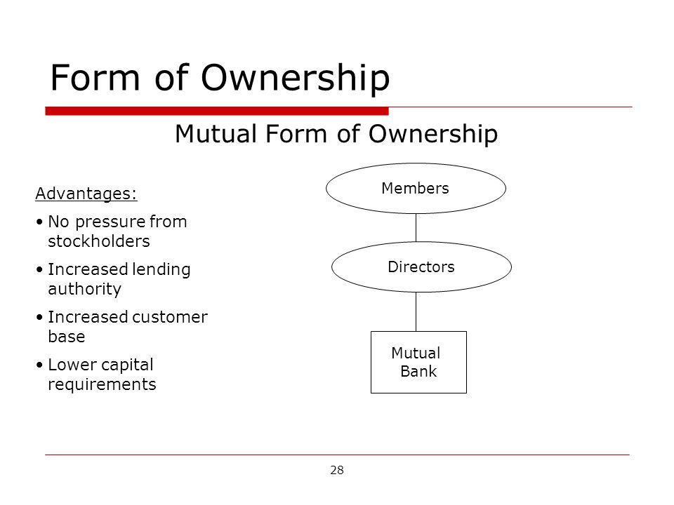 28 Form of Ownership Mutual Form of Ownership Members Directors Mutual Bank Advantages: No pressure from stockholders Increased lending authority Increased customer base Lower capital requirements