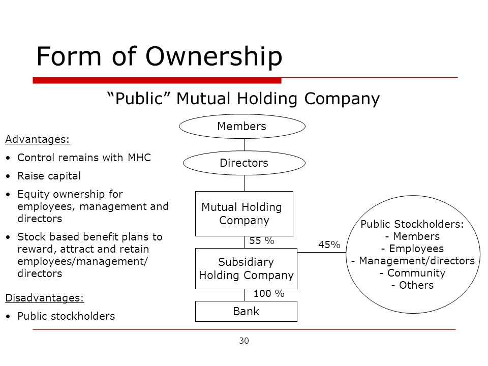 30 Form of Ownership Public Mutual Holding Company Members Directors Mutual Holding Company Subsidiary Holding Company Bank Public Stockholders: - Members - Employees - Management/directors - Community - Others 45% 55 % 100 % Advantages: Control remains with MHC Raise capital Equity ownership for employees, management and directors Stock based benefit plans to reward, attract and retain employees/management/ directors Disadvantages: Public stockholders