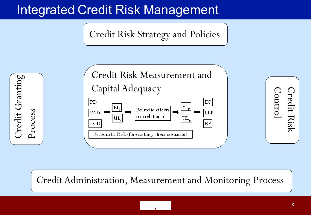 8 Integrated Credit Risk Management Credit Risk Strategy and Policies Credit Granting Process Credit Risk Control Credit Risk Measurement and Capital Adequacy Credit Administration, Measurement and Monitoring Process
