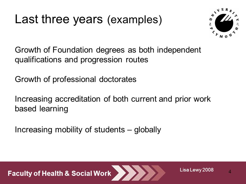 Faculty of Health & Social Work Last three years (examples) Growth of Foundation degrees as both independent qualifications and progression routes Growth of professional doctorates Increasing accreditation of both current and prior work based learning Increasing mobility of students – globally 4 Lisa Lewy 2008