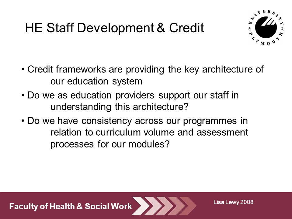 Faculty of Health & Social Work HE Staff Development & Credit Credit frameworks are providing the key architecture of our education system Do we as education providers support our staff in understanding this architecture.