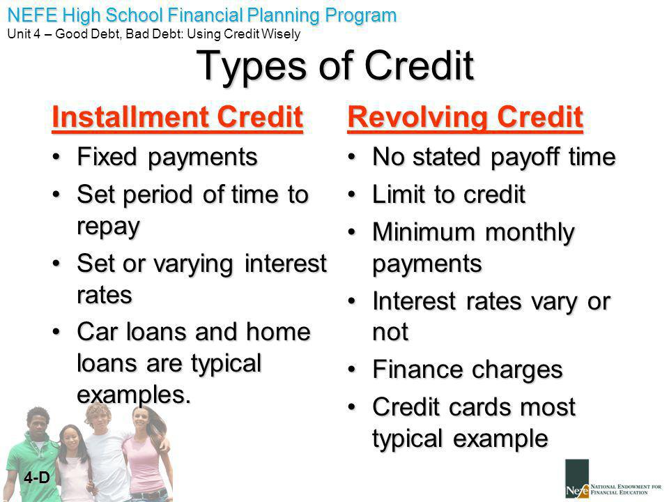 NEFE High School Financial Planning Program Unit 4 – Good Debt, Bad Debt: Using Credit Wisely 4-D Types of Credit Installment Credit Fixed paymentsFixed payments Set period of time to repaySet period of time to repay Set or varying interest ratesSet or varying interest rates Car loans and home loans are typical examples.Car loans and home loans are typical examples.