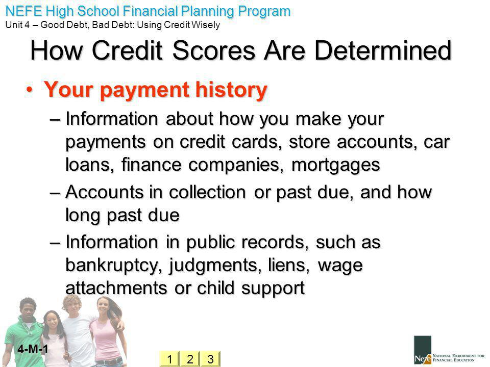 NEFE High School Financial Planning Program Unit 4 – Good Debt, Bad Debt: Using Credit Wisely 4-M-1 How Credit Scores Are Determined Your payment historyYour payment history –Information about how you make your payments on credit cards, store accounts, car loans, finance companies, mortgages –Accounts in collection or past due, and how long past due –Information in public records, such as bankruptcy, judgments, liens, wage attachments or child support 321