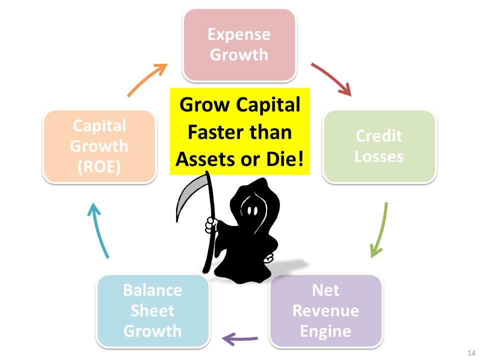 Expense Growth Credit Losses Net Revenue Engine Balance Sheet Growth Capital Growth (ROE) Grow Capital Faster than Assets or Die.