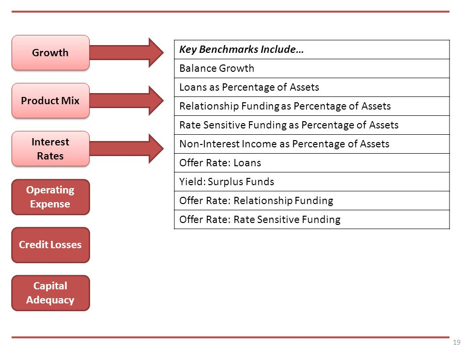 19 Growth Product Mix Interest Rates Operating Expense Credit Losses Capital Adequacy Key Benchmarks Include… Balance Growth Loans as Percentage of Assets Relationship Funding as Percentage of Assets Rate Sensitive Funding as Percentage of Assets Non-Interest Income as Percentage of Assets Offer Rate: Loans Yield: Surplus Funds Offer Rate: Relationship Funding Offer Rate: Rate Sensitive Funding