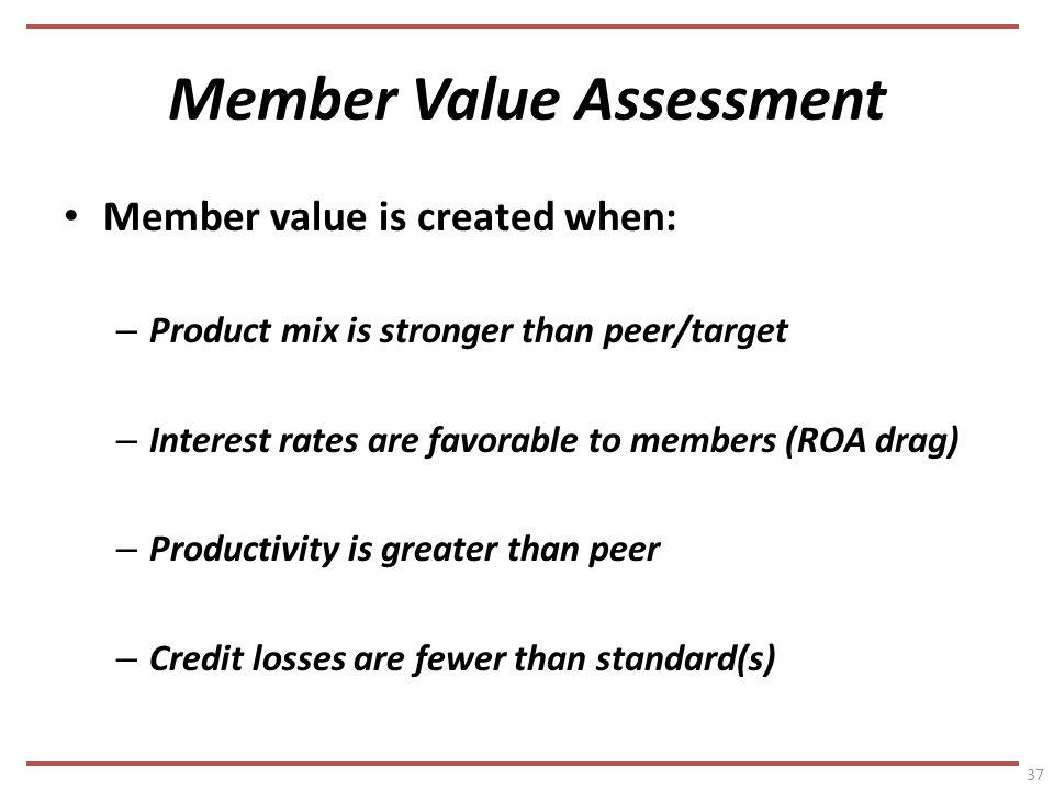 Member Value Assessment Member value is created when: – Product mix is stronger than peer/target – Interest rates are favorable to members (ROA drag) – Productivity is greater than peer – Credit losses are fewer than standard(s) 37