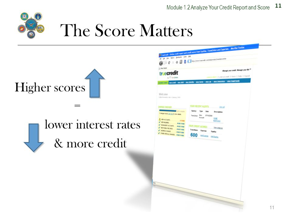 11 Module 1.2 Analyze Your Credit Report and Score The Score Matters Higher scores = lower interest rates & more credit 11