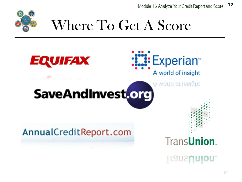 12 Module 1.2 Analyze Your Credit Report and Score Where To Get A Score 12 13.5