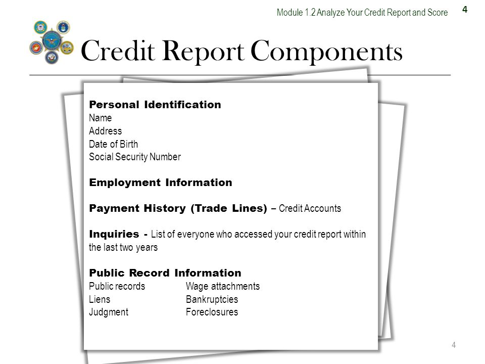 4 Module 1.2 Analyze Your Credit Report and Score Credit Report Components 4 Personal Identification Name Address Date of Birth Social Security Number Employment Information Payment History (Trade Lines) – Credit Accounts Inquiries - List of everyone who accessed your credit report within the last two years Public Record Information Public recordsWage attachments LiensBankruptcies JudgmentForeclosures 13.4