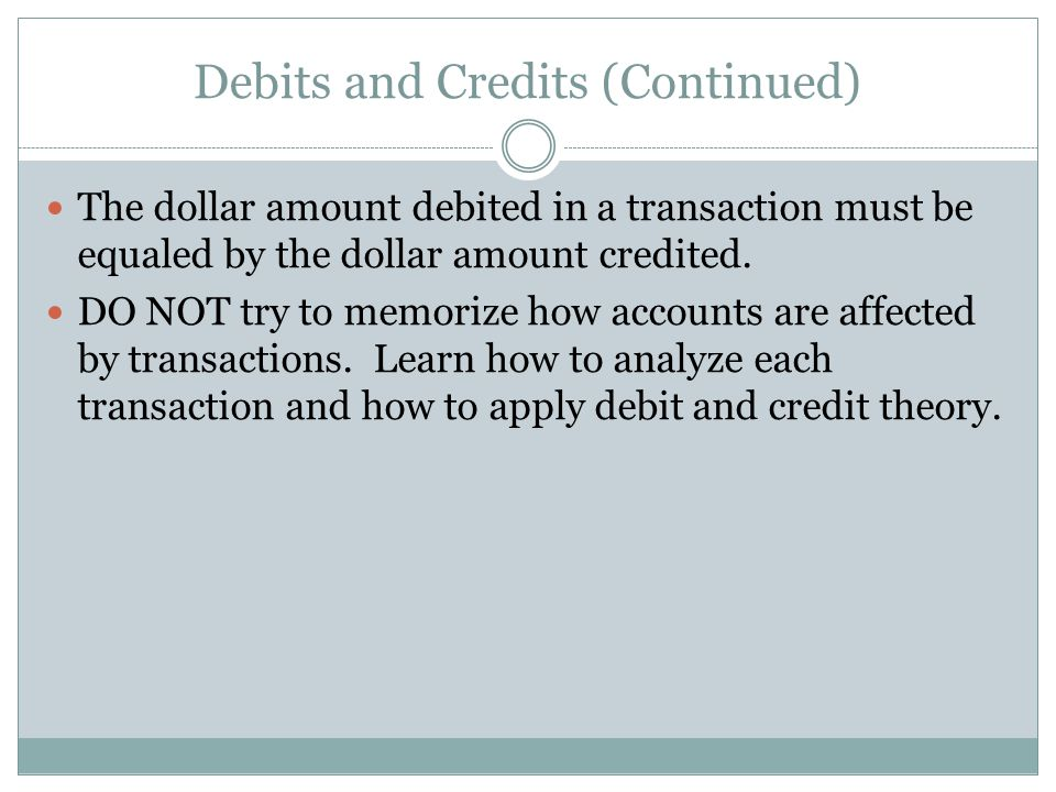 Debits and Credits (Continued) The dollar amount debited in a transaction must be equaled by the dollar amount credited.