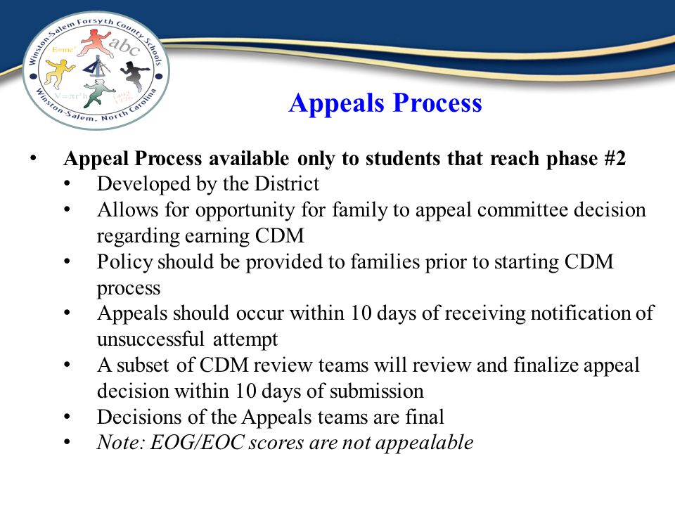 Appeals Process Appeal Process available only to students that reach phase #2 Developed by the District Allows for opportunity for family to appeal committee decision regarding earning CDM Policy should be provided to families prior to starting CDM process Appeals should occur within 10 days of receiving notification of unsuccessful attempt A subset of CDM review teams will review and finalize appeal decision within 10 days of submission Decisions of the Appeals teams are final Note: EOG/EOC scores are not appealable