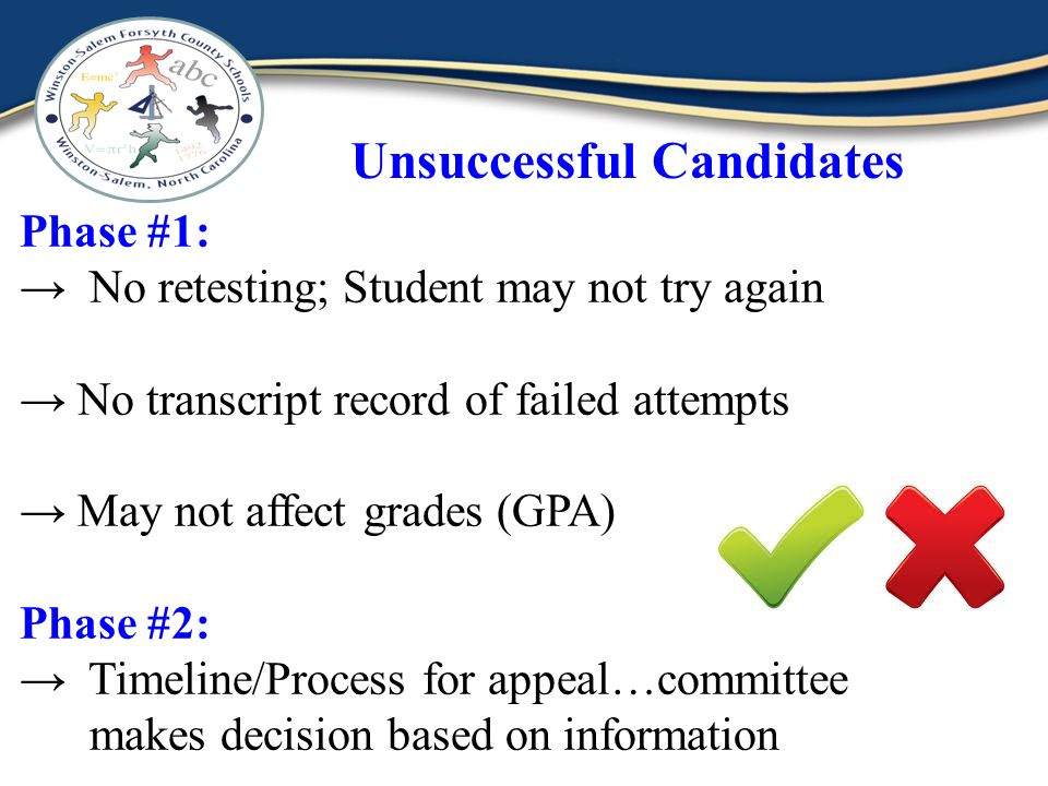 Unsuccessful Candidates Phase #1: No retesting; Student may not try again No transcript record of failed attempts May not affect grades (GPA) Phase #2: Timeline/Process for appeal…committee makes decision based on information