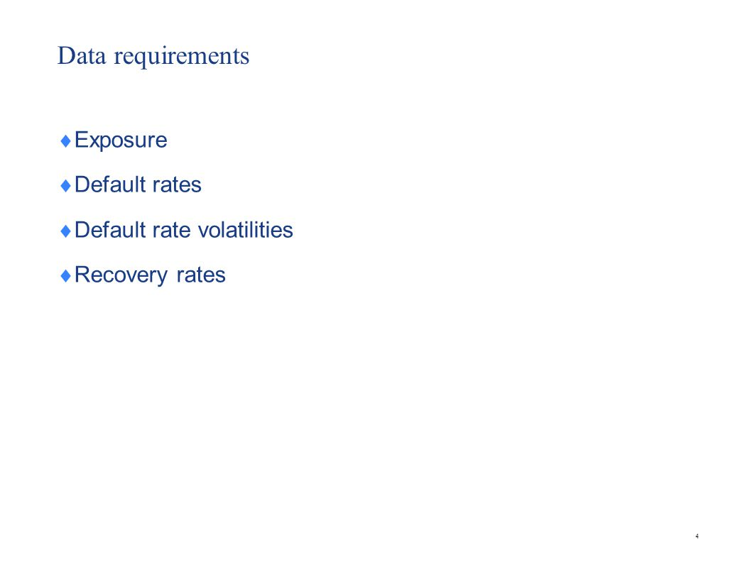Data requirements Exposure Default rates Default rate volatilities Recovery rates 4