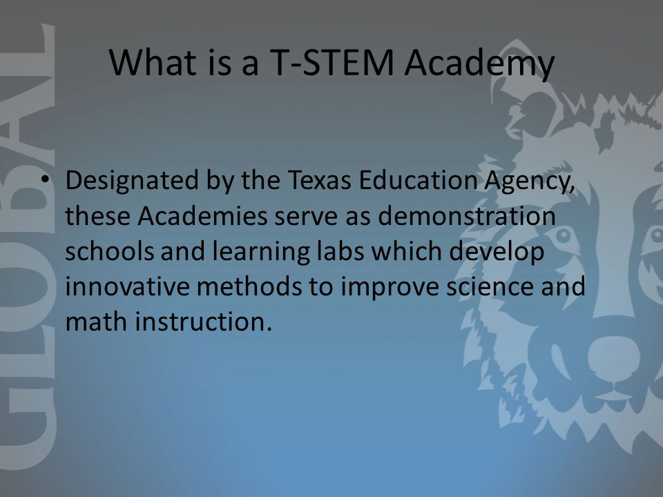 What is a T-STEM Academy Designated by the Texas Education Agency, these Academies serve as demonstration schools and learning labs which develop innovative methods to improve science and math instruction.