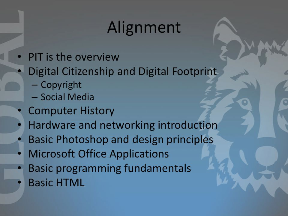 Alignment PIT is the overview Digital Citizenship and Digital Footprint – Copyright – Social Media Computer History Hardware and networking introduction Basic Photoshop and design principles Microsoft Office Applications Basic programming fundamentals Basic HTML