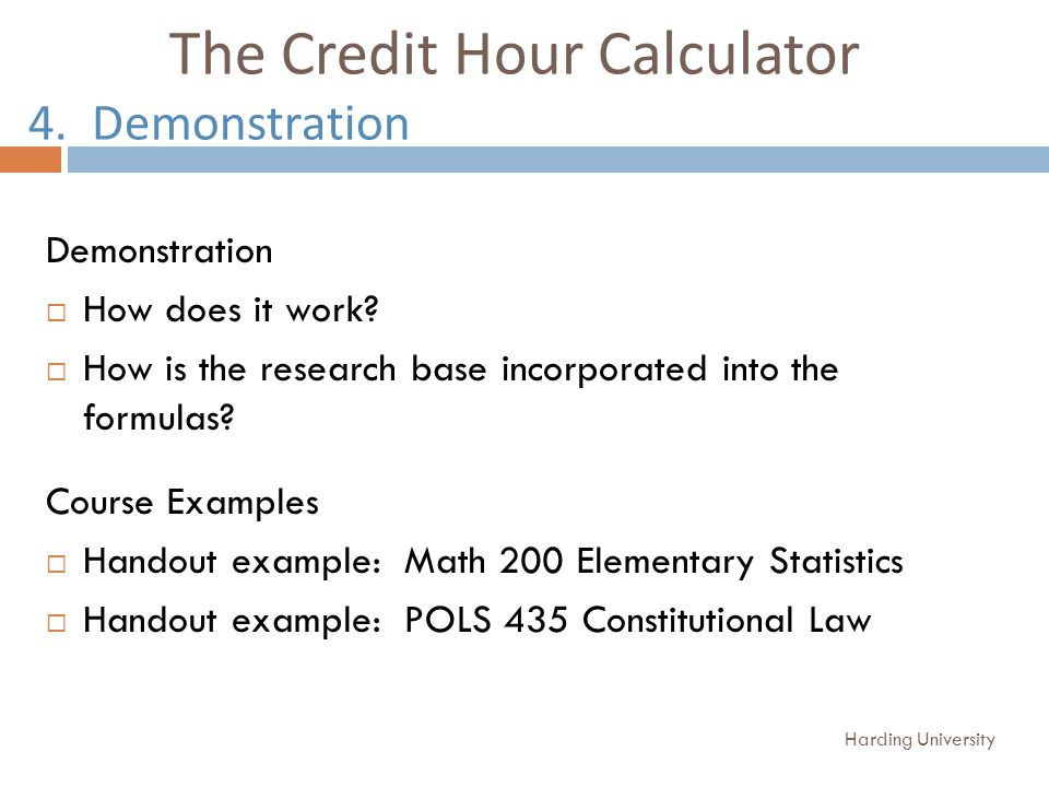 The Credit Hour Calculator 4. Demonstration Demonstration How does it work.