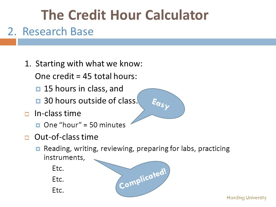 The Credit Hour Calculator 2. Research Base 1.