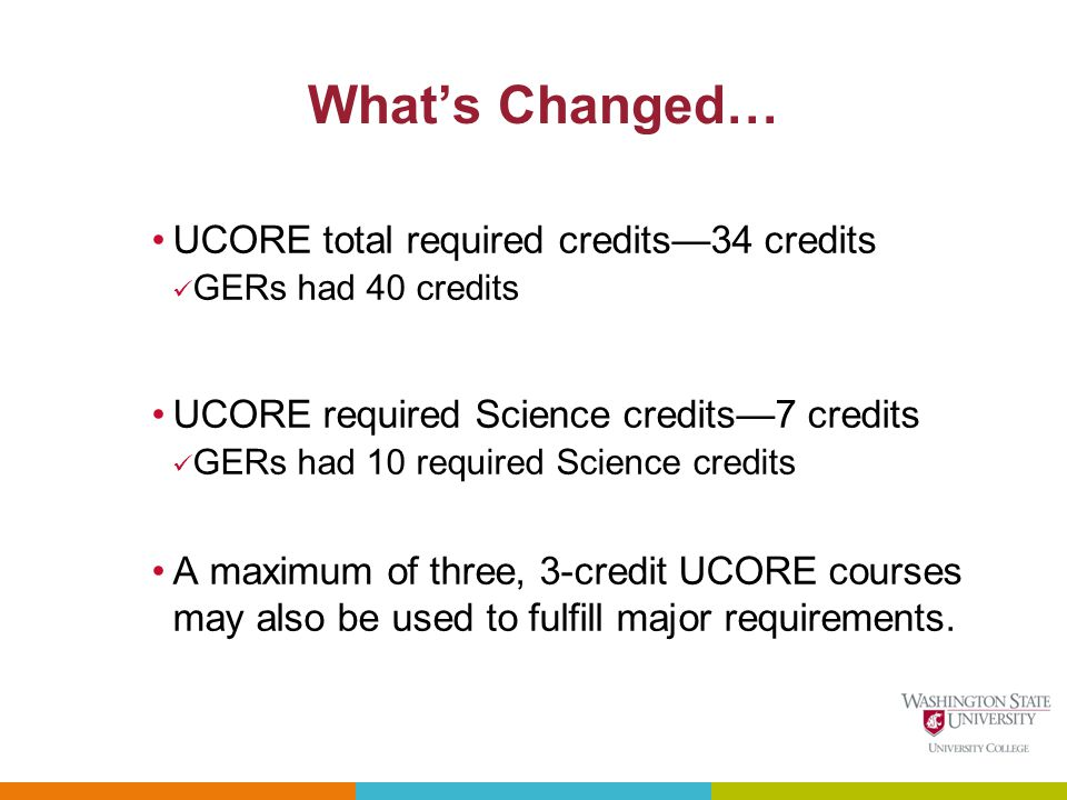Whats Changed… UCORE total required credits34 credits GERs had 40 credits UCORE required Science credits7 credits GERs had 10 required Science credits A maximum of three, 3-credit UCORE courses may also be used to fulfill major requirements.
