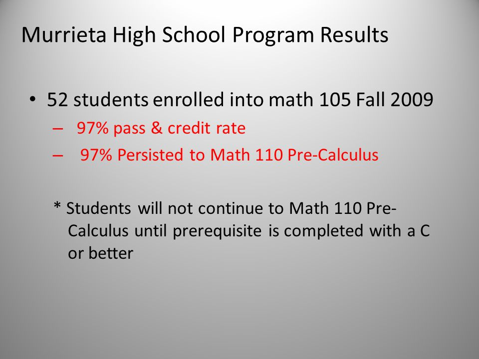 Murrieta High School Program Results 52 students enrolled into math 105 Fall 2009 – 97% pass & credit rate – 97% Persisted to Math 110 Pre-Calculus * Students will not continue to Math 110 Pre- Calculus until prerequisite is completed with a C or better