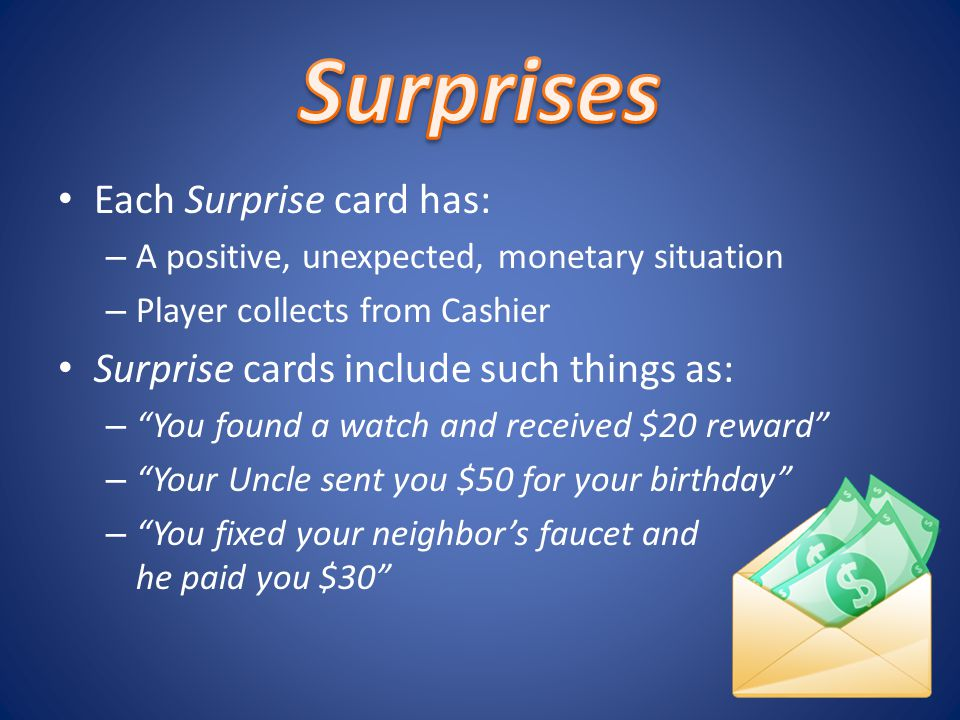 Each Surprise card has: – A positive, unexpected, monetary situation – Player collects from Cashier Surprise cards include such things as: – You found a watch and received $20 reward – Your Uncle sent you $50 for your birthday – You fixed your neighbors faucet and he paid you $30