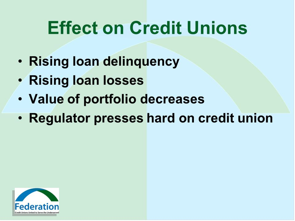 Effect on Credit Unions Rising loan delinquency Rising loan losses Value of portfolio decreases Regulator presses hard on credit union
