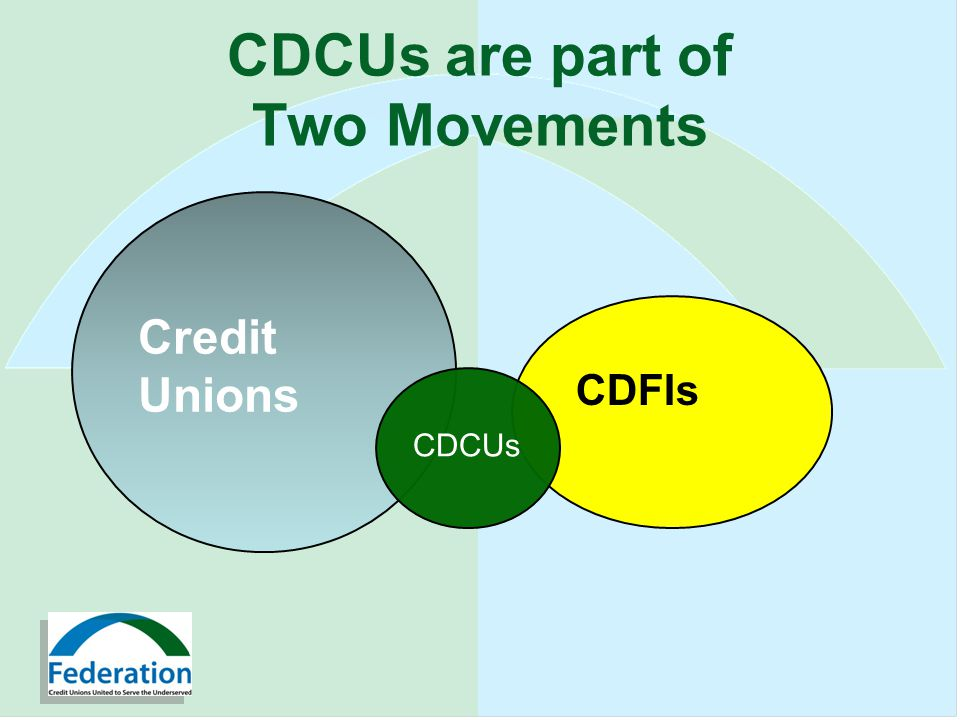 CDCUs are part of Two Movements Credit Unions CDFIs CDCUs