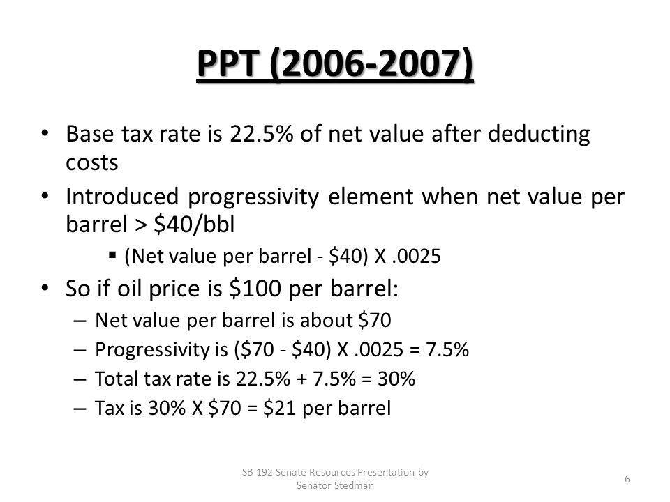 PPT (2006-2007) Base tax rate is 22.5% of net value after deducting costs Introduced progressivity element when net value per barrel > $40/bbl (Net value per barrel - $40) X.0025 So if oil price is $100 per barrel: – Net value per barrel is about $70 – Progressivity is ($70 - $40) X.0025 = 7.5% – Total tax rate is 22.5% + 7.5% = 30% – Tax is 30% X $70 = $21 per barrel SB 192 Senate Resources Presentation by Senator Stedman 6