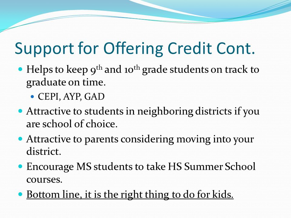 Support for Offering Credit Cont.