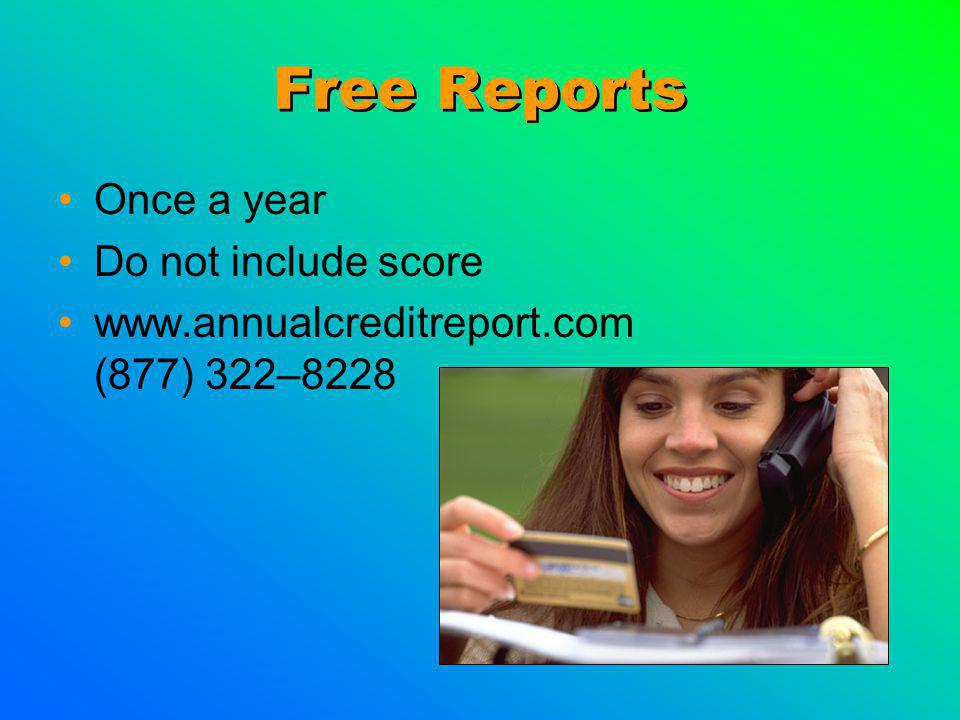 Free Reports Once a year Do not include score www.annualcreditreport.com (877) 322–8228