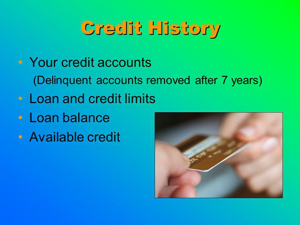 Credit History Your credit accounts (Delinquent accounts removed after 7 years) Loan and credit limits Loan balance Available credit