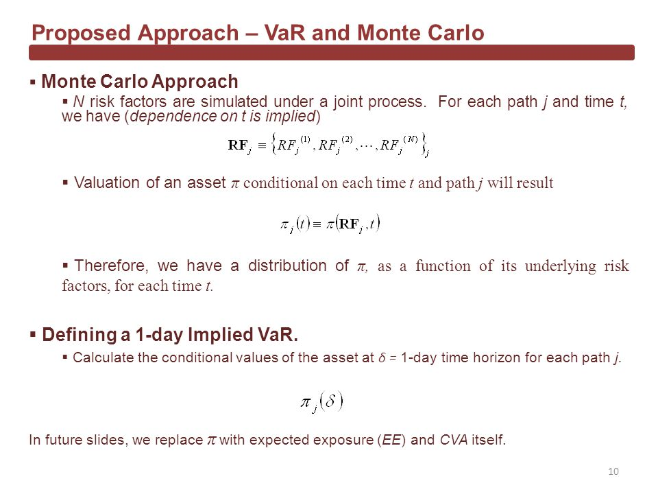 Monte Carlo Approach N risk factors are simulated under a joint process.