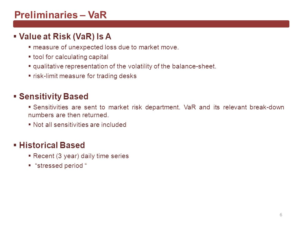 Value at Risk (VaR) Is A measure of unexpected loss due to market move.