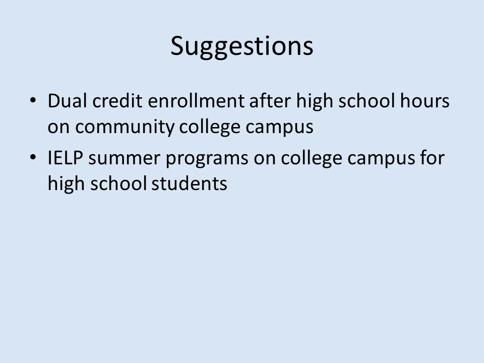 Suggestions Dual credit enrollment after high school hours on community college campus IELP summer programs on college campus for high school students