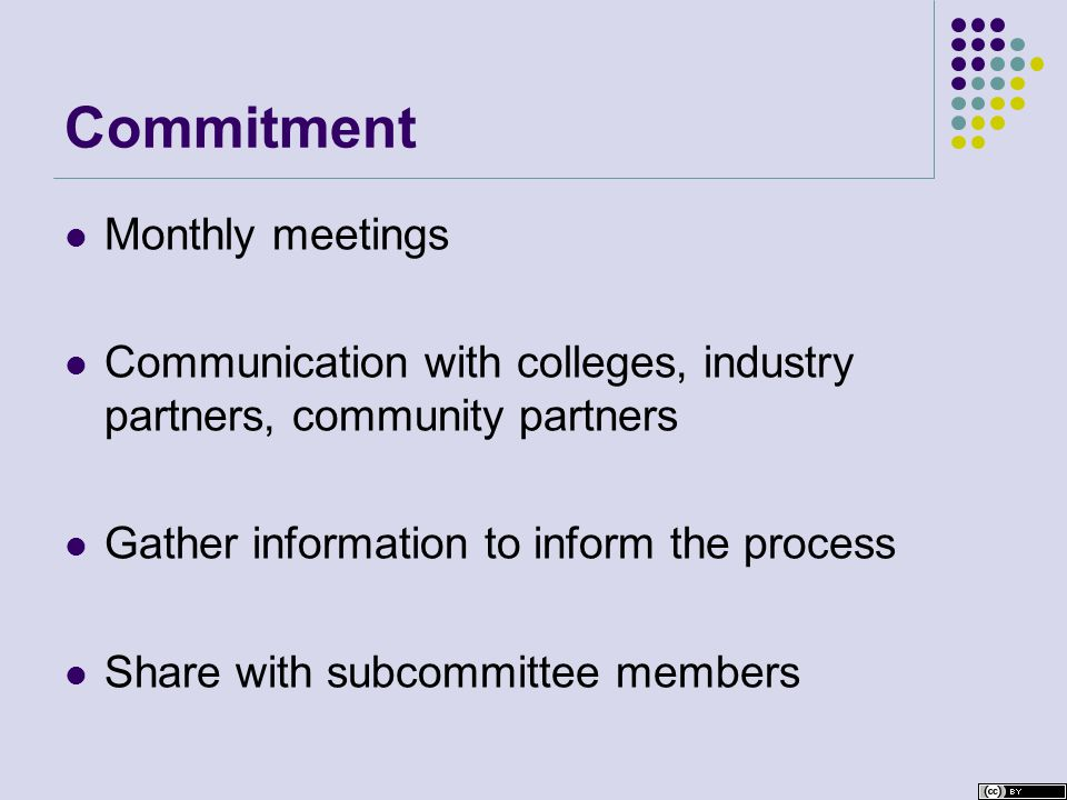 Commitment Monthly meetings Communication with colleges, industry partners, community partners Gather information to inform the process Share with subcommittee members