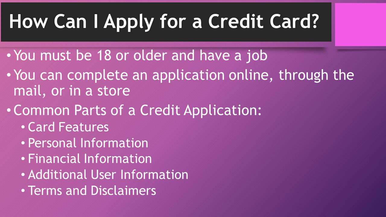 How Can I Apply for a Credit Card.