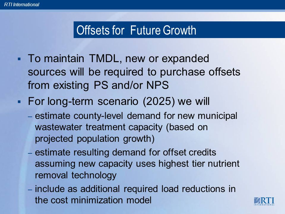 RTI International Offsets for Future Growth To maintain TMDL, new or expanded sources will be required to purchase offsets from existing PS and/or NPS For long-term scenario (2025) we will – estimate county-level demand for new municipal wastewater treatment capacity (based on projected population growth) – estimate resulting demand for offset credits assuming new capacity uses highest tier nutrient removal technology – include as additional required load reductions in the cost minimization model