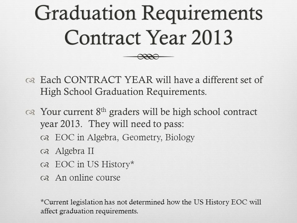 Graduation Requirements Contract Year 2013 Each CONTRACT YEAR will have a different set of High School Graduation Requirements.
