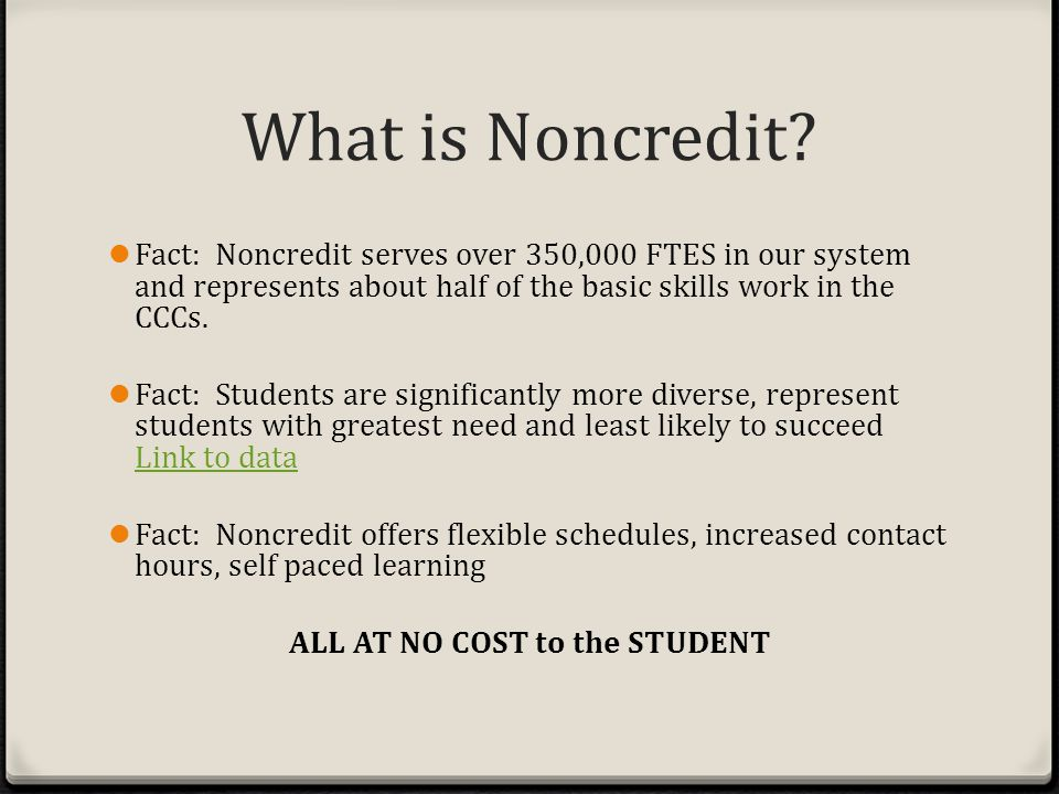 What is Noncredit.