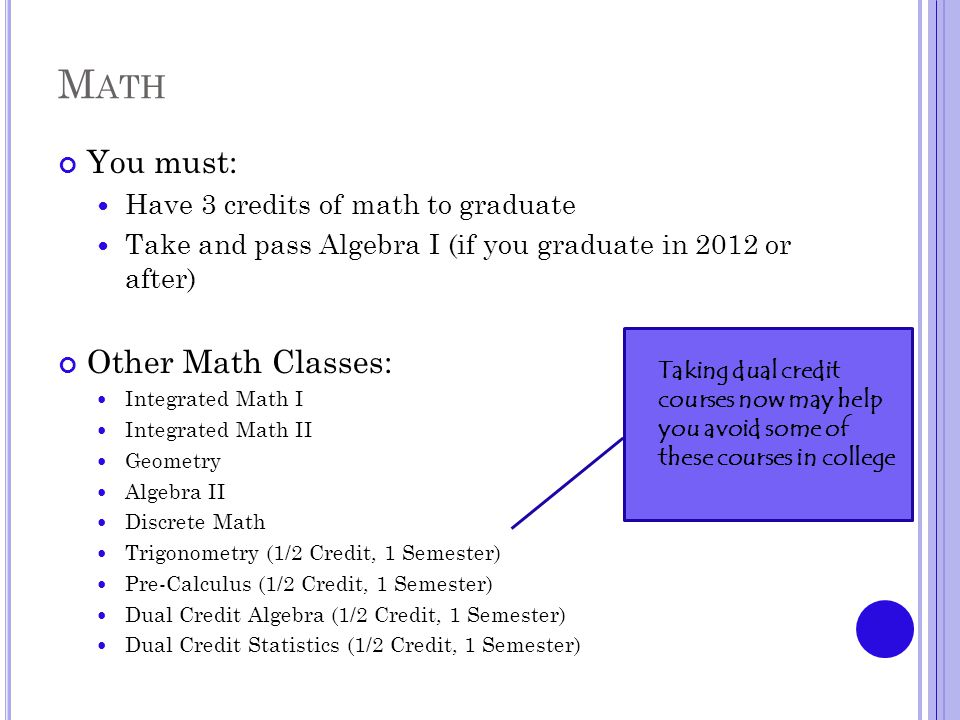 M ATH You must: Have 3 credits of math to graduate Take and pass Algebra I (if you graduate in 2012 or after) Other Math Classes: Integrated Math I Integrated Math II Geometry Algebra II Discrete Math Trigonometry (1/2 Credit, 1 Semester) Pre-Calculus (1/2 Credit, 1 Semester) Dual Credit Algebra (1/2 Credit, 1 Semester) Dual Credit Statistics (1/2 Credit, 1 Semester) Taking dual credit courses now may help you avoid some of these courses in college